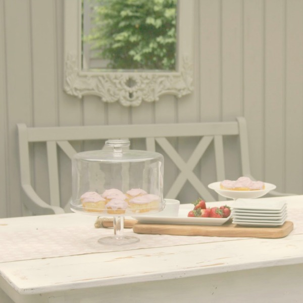 Romantic, simple, French courtyard with pink accents for a tea party - Hello Lovely Studio.