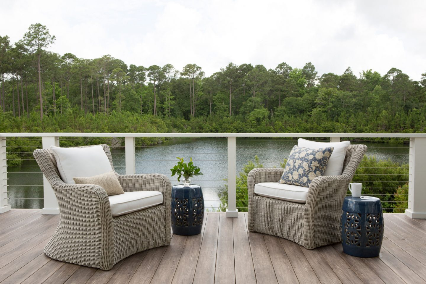Deck off living room of coastal cottage in South Carolina. Design: Lisa Furey.