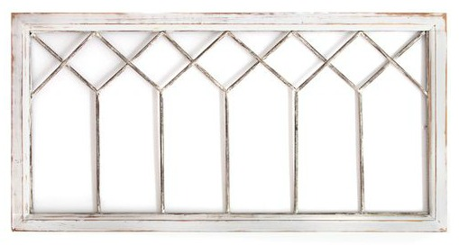 Distressed white window panel wall decor for a modern farmhouse or shabby chic room with vintage style.
