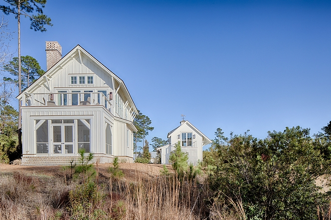 Board and batten coastal cottage exterior. Design by Lisa Furey.
