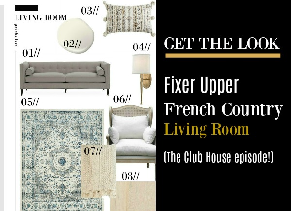 The French country living room in Fixer Upper's Club House episode has wonderful design, and you can get the look here!