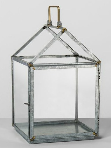 Galvanized house lantern from Hearth and Hand. #lantern #candleholder #hurricanes #homedecor #farmhousestyle