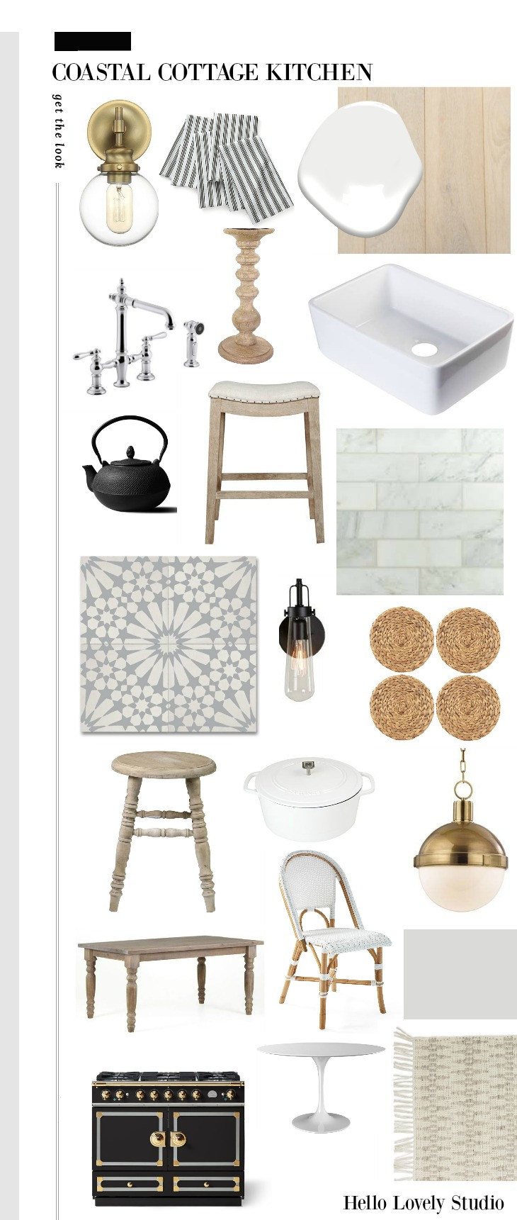 Coastal Cottage Kitchen Get the Look Mood Board from Hello Lovely Studio.