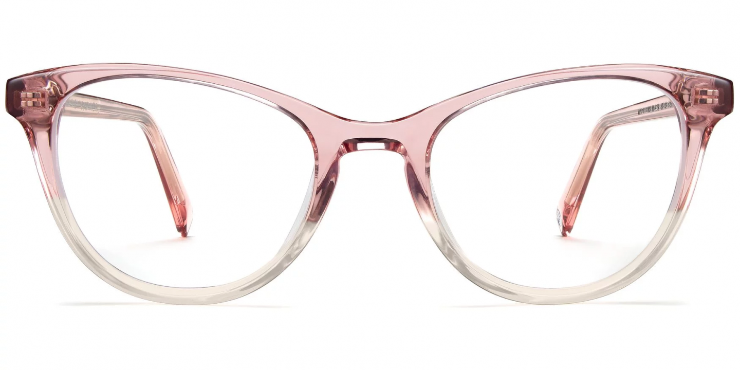 Madeleine Narrow eyeglasses by Warby Parker in Cherry Blossom Fade.
