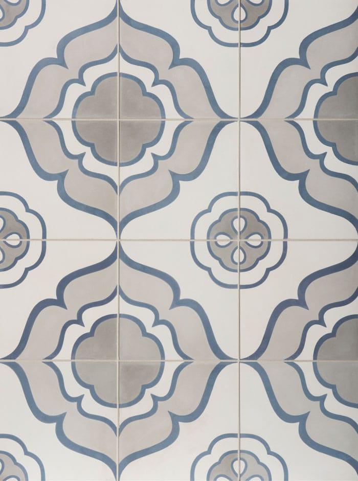 Jasmine Duquesa cement tile from Walker Zanger (Mezzanotte). #cementtile #duquesa #jasmine