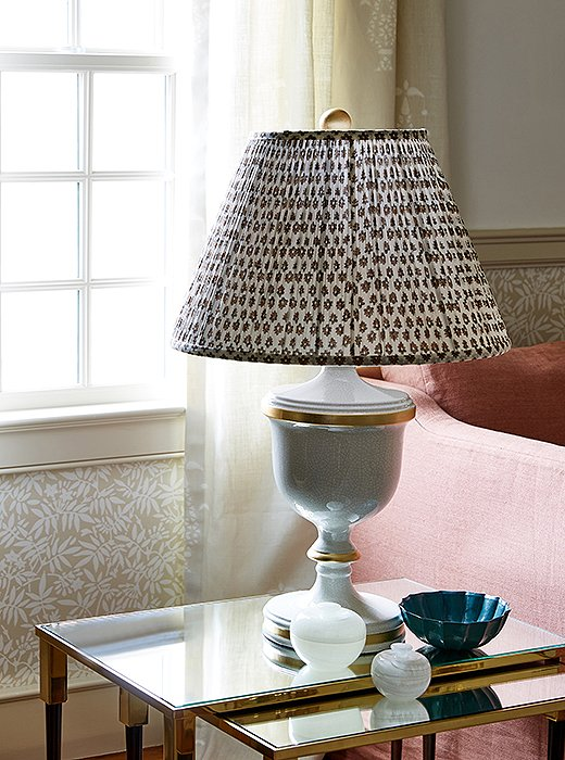 Lamp in living room at One Kings Lane Connecticut Farmhouse Showroom with modern farmhouse interior design. #traditionalstyle #farmhouse #onekingslane