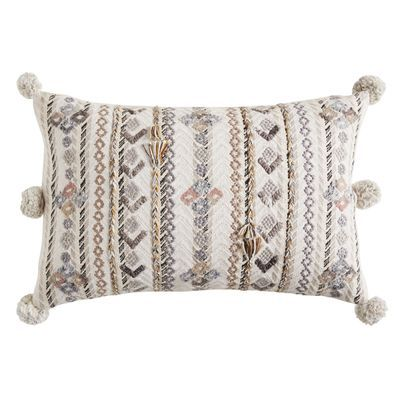 Embroidered Gray multi pillow