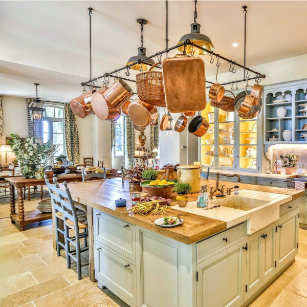 French kitchen with copper pots Le Mas de Poirers Provence French farmhouse.