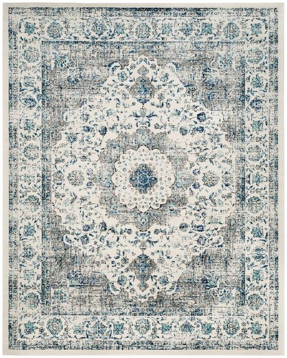 Aleyna Grey and Ivory Area Rug. #arearug #rugs #homedecor #bluegrey #bluegray #livingroom