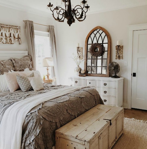 Sherwin Williams Elder White paint color on walls of bedroom designed by Brittany York. #cottagestyle #cottagebedroom #rusticdecor