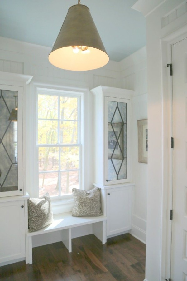 SHERWIN WILLIAMS Rainwashed on ceiling of Southern Living Showcase mud room. Photo: The Decorologist.
