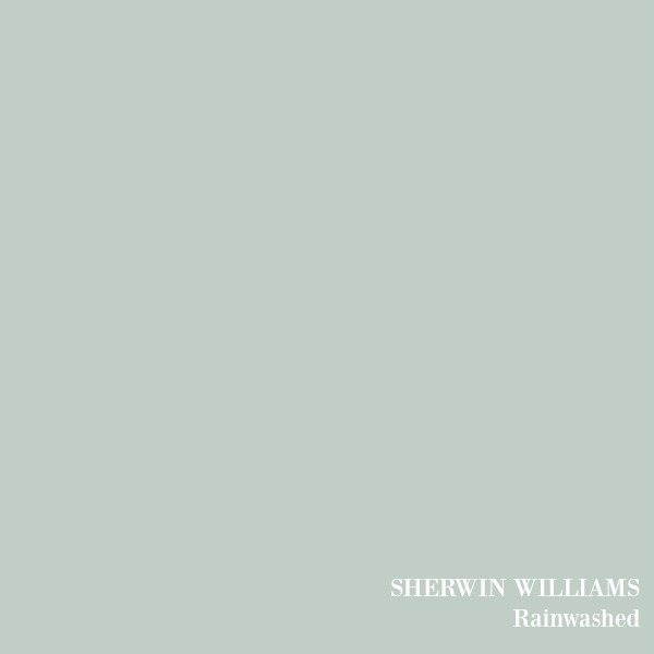 Sherwin Williams Rainwashed - a beautiful muted blue-green paint color.