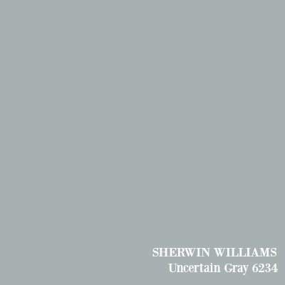 SHERWIN WILLIAMS Uncertain Gray paint color.