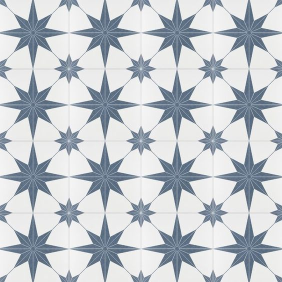 Salerno porcelain tile looks like encaustic cement. #blueandwhite #floortile #flooring #porcelaintile #encausticlook