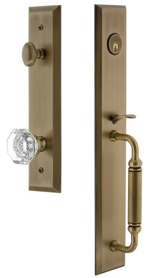 Vintage brass Grandeur French inspired handleset with glass knob - a sophisticated hardware option for French country homes.