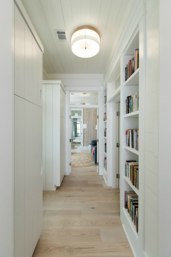 Built-ins in hall of Modern Coastal Cottage Interior Design Inspiration in 2018 Coastal Living Idea House. Design by Jenny Keenan and architecture by Eric Moser.