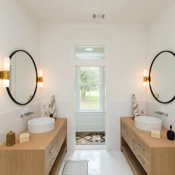 Bathroom in Modern Coastal Cottage Interior Design Inspiration in 2018 Coastal Living Idea House. Design by Jenny Keenan and architecture by Eric Moser.
