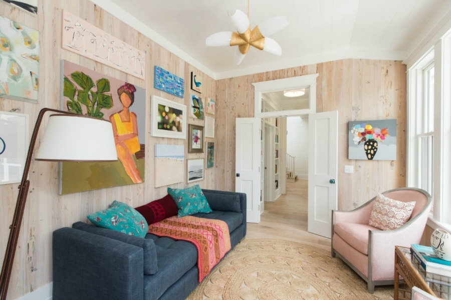 Gallery wall in Modern Coastal Cottage Interior Design Inspiration in 2018 Coastal Living Idea House. Design by Jenny Keenan and architecture by Eric Moser.