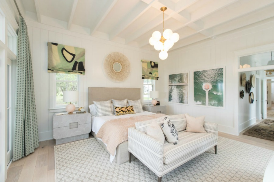 Bedroom in Modern Coastal Cottage Interior Design Inspiration in 2018 Coastal Living Idea House. Design by Jenny Keenan and architecture by Eric Moser.