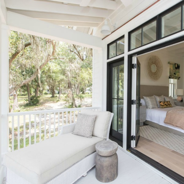 Porch off bedroom in Modern Coastal Cottage Interior Design Inspiration in 2018 Coastal Living Idea House. Design by Jenny Keenan and architecture by Eric Moser. Come peek at Charming Porch Inspiration & Decor Ideas.