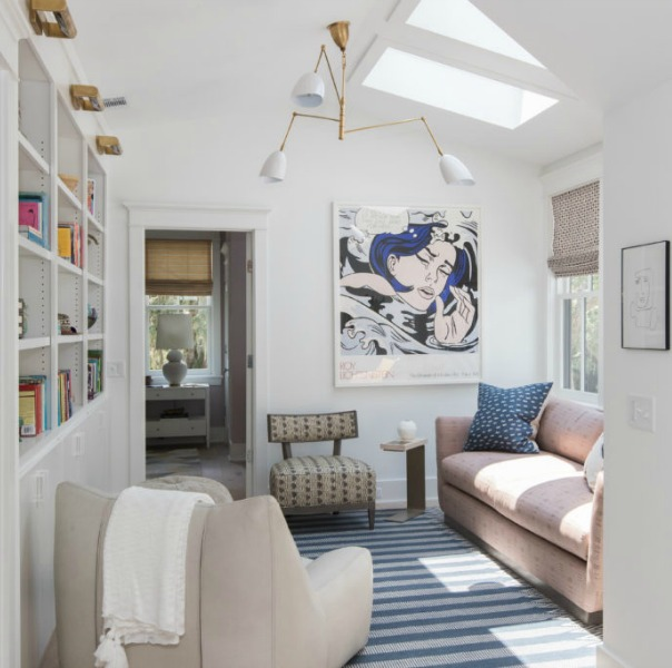 Den in Modern Coastal Cottage Design Inspiration in 2018 Coastal Living Idea House. Design by Jenny Keenan and architecture by Eric Moser.