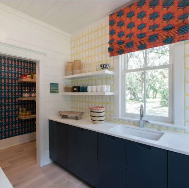Back kitchen in Modern Coastal Cottage Interior Design Inspiration in 2018 Coastal Living Idea House. Design by Jenny Keenan and architecture by Eric Moser.