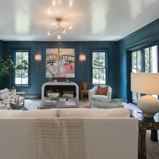 Living room with bold teal walls in Modern Coastal Cottage Interior Design Inspiration in 2018 Coastal Living Idea House. Design by Jenny Keenan and architecture by Eric Moser.