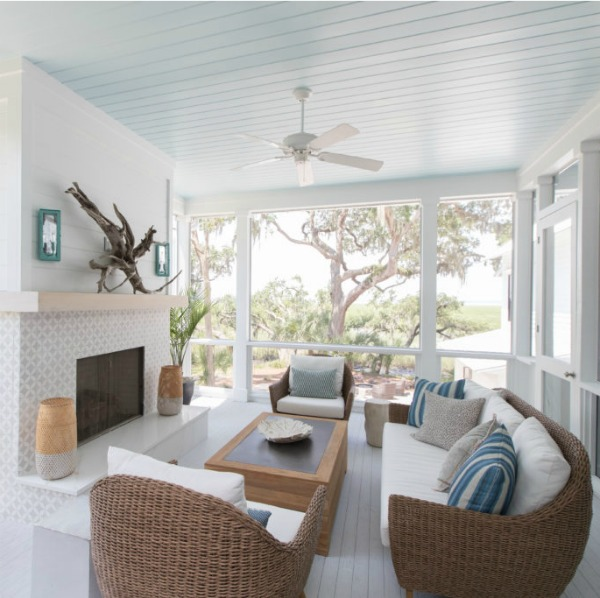 Screen porch with fireplace in Modern Coastal Cottage Interior Design Inspiration in 2018 Coastal Living Idea House. Design by Jenny Keenan and architecture by Eric Moser.