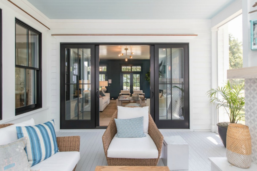 Screen porch in Modern Coastal Cottage Interior Design Inspiration in 2018 Coastal Living Idea House. Design by Jenny Keenan and architecture by Eric Moser.