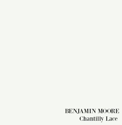 Benjamin Moore Chantilly Lace paint color.