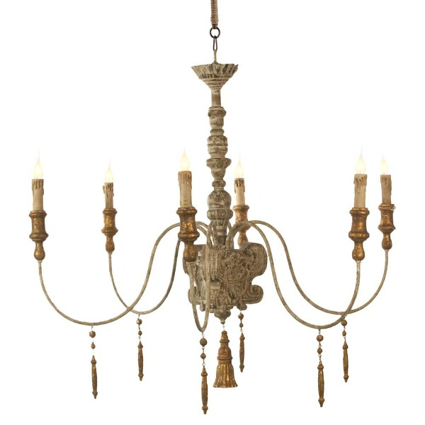 French Country Wood Carved Chandelier.