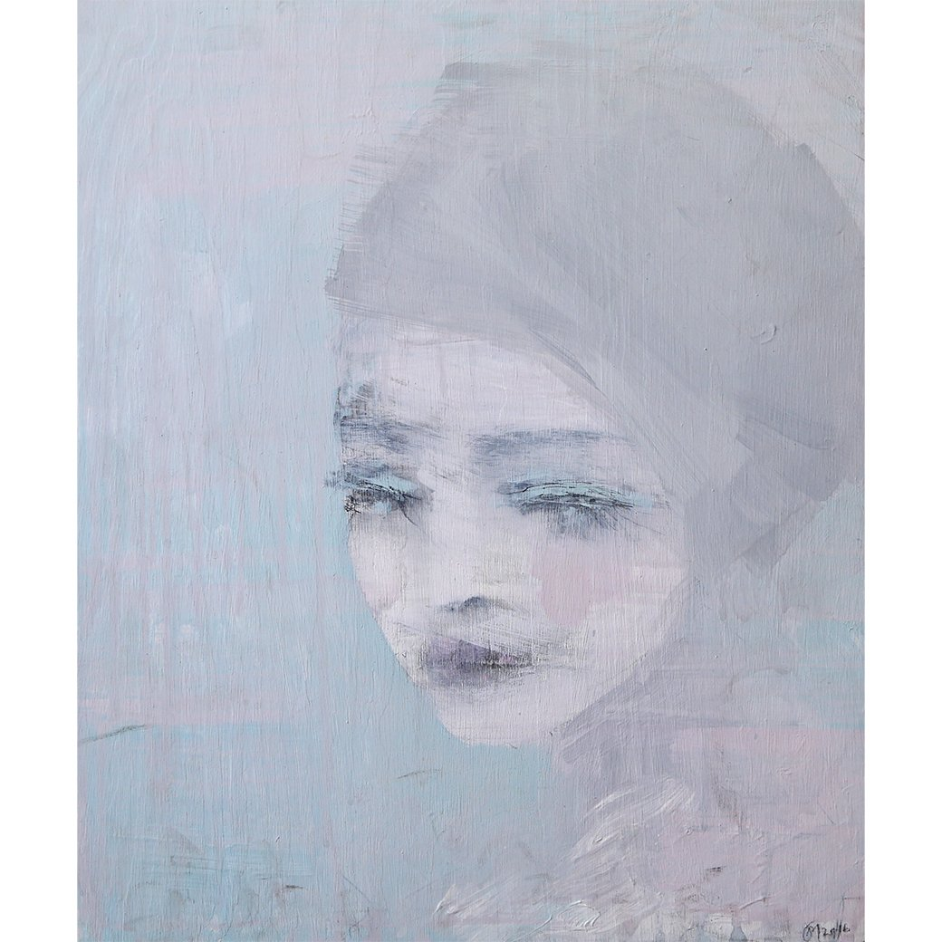 Ethereal and poetic painting (Subtle Blues) by Jorunn Mulen of Norway for Shabby Chic Couture (Rachel Ashwell).