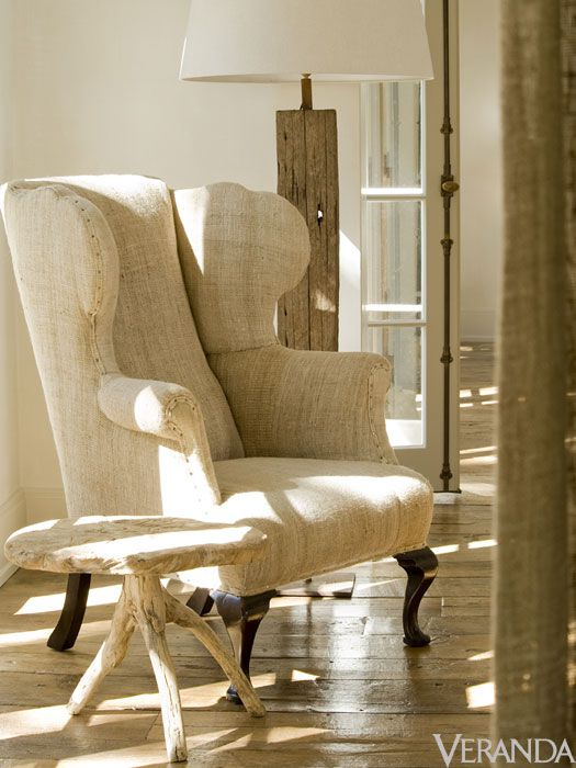 Rustic elegant French country style wingback chair and table - design by Pamela Pierce. Photo by Peter Vitale for Veranda.
