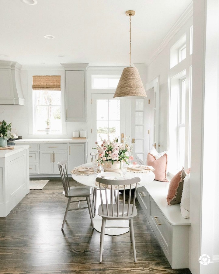 Elegant white farmhouse kitchen with Benjamin Moore Repose Grey cabinets, subway tile, gold accents, and reclaimed barn wood. Design: Finding Lovely. Timeless Tranquil White & Grey Kitchen Tour. Wall color: Benjamin Moore Chantilly Lace.