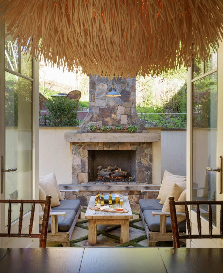 Beautiful patio inspiration with fireplace and design by Alison Pickart.