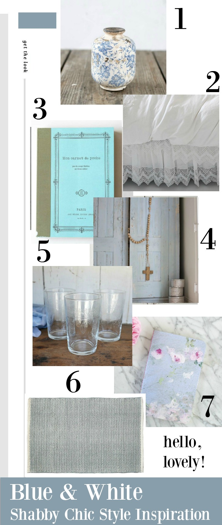Blue and white shabby chic decor and inspiration on Hello Lovely Studio.