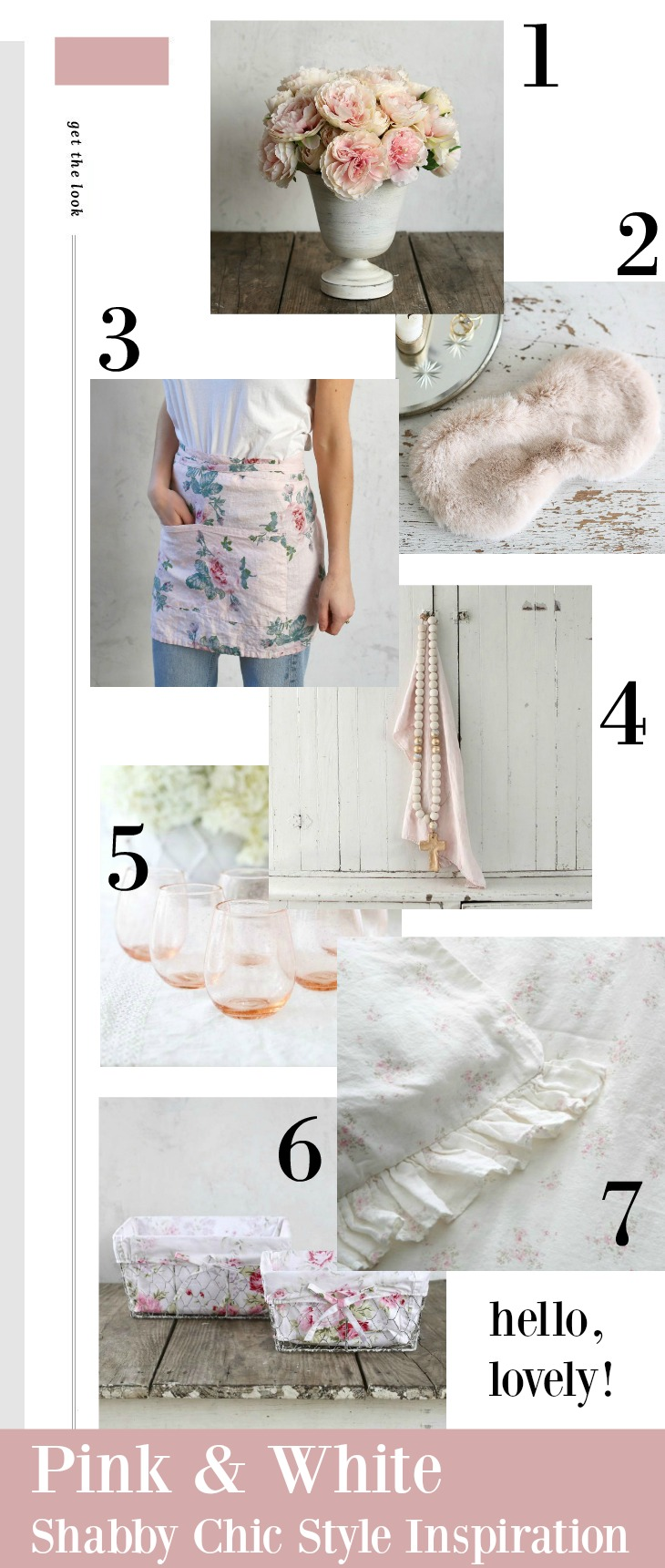 Pink and white shabby chic decor and inspiration on Hello Lovely Studio.