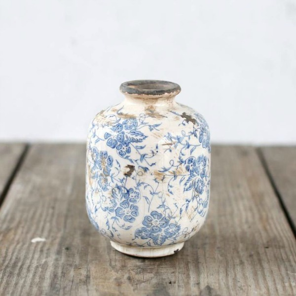 Blue and white distressed terracotta vase. Shabby Chic Couture Design Inspiration from Rachel Ashwell!