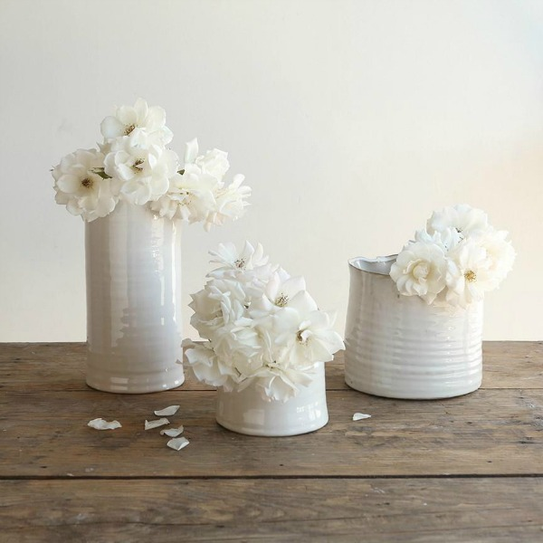 White ceramic vases. Shabby Chic Couture Design Inspiration from Rachel Ashwell!