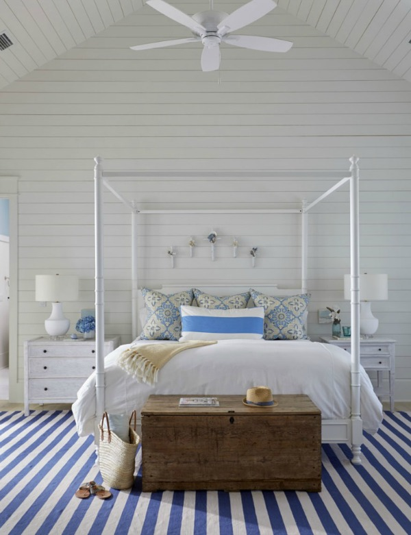 Blue and white stripes enhance a luxurious classic coastal style bespoke bedroom design from Geoff Chick & Associates. Come feast on photos of beautiful interiors to inspire As Well As Classic Interior Design Inspiration.