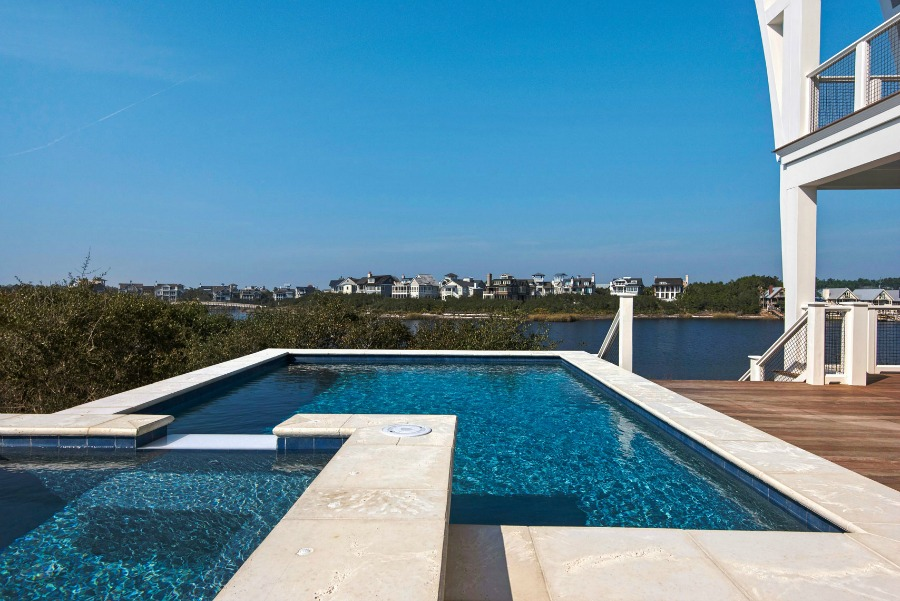 Luxurious pool design inspiration from a magnificent coastal style classic home by architect Geoff Chick.
