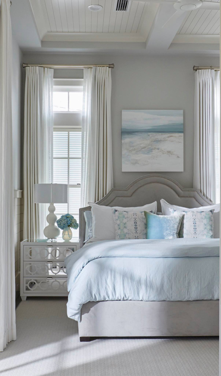 Luxurious classic coastal style bedroom design in a magnificent bespoke traditional home from architectural design firm Geoff Chick & Associates. #coastalstyle #coastaldecor #bedroomdesign #interiordesign