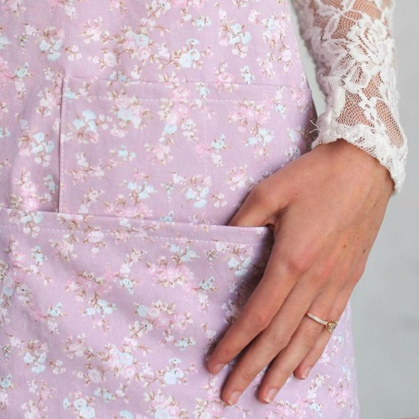 Georgie dusty apron in a lavender floral print.Shabby Chic Couture Design Inspiration from Rachel Ashwell!