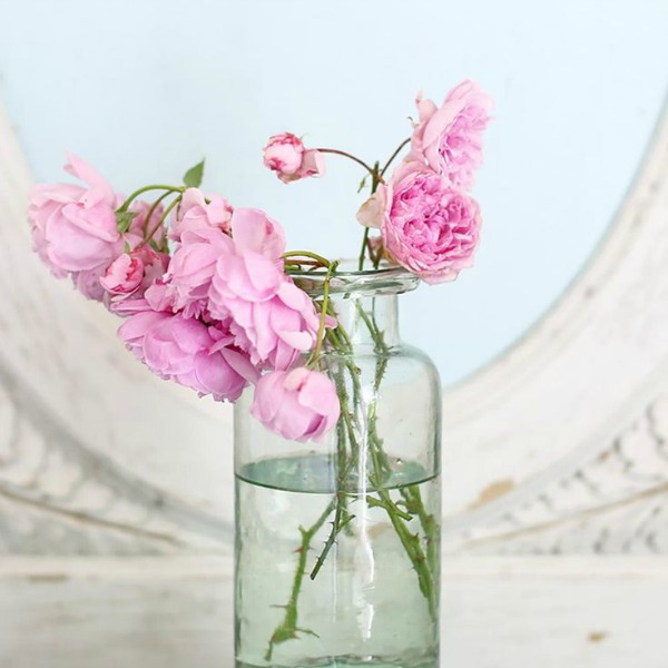 Green short vase. Shabby Chic Couture Design Inspiration from Rachel Ashwell!