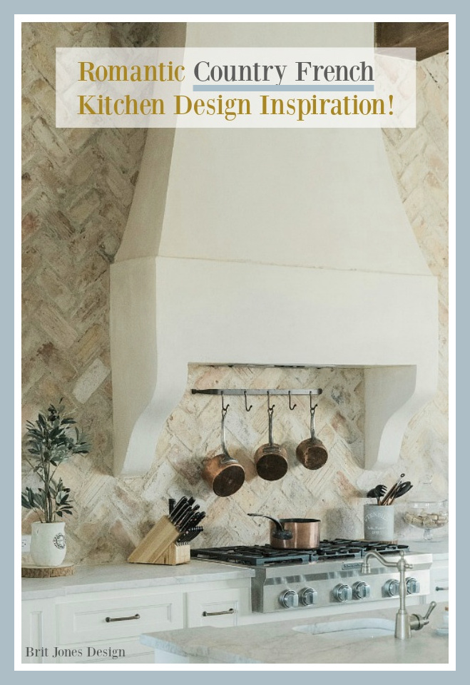 Come tour an amazing and romantic Country French kitchen by Brit Jones with creamy whites and Chicago brick on Hello Lovely Studio! #frenchcountry #kitchendesign #romanticdecor #frenchkitchen #chicagobrick