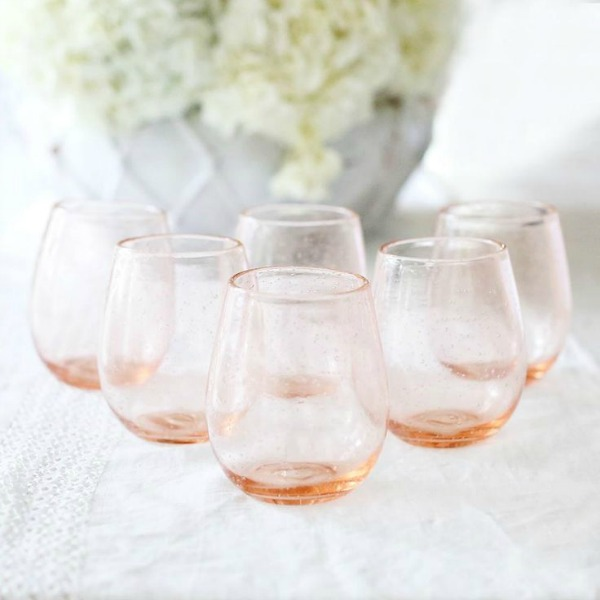Rose bubble glass tumblers. Shabby Chic Couture Design Inspiration from Rachel Ashwell!