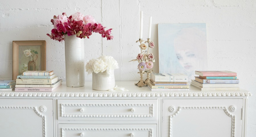 Shabby chic console table. Shabby Chic Couture Design Inspiration from Rachel Ashwell!