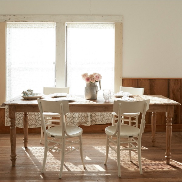 Rustic farm table and dining chairs by Shabby Chic Couture by Rachel Ashwell.