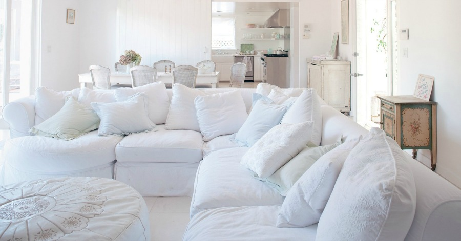 White sectional sofa. Shabby Chic Couture Design Inspiration from Rachel Ashwell!