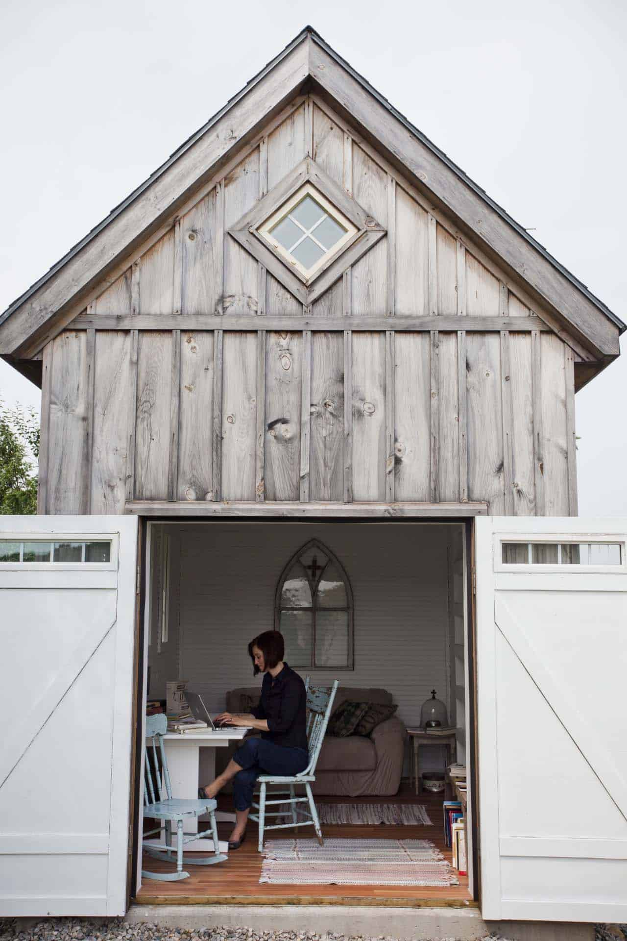 Rustic backyard farmhouse style she shed writer's retreat of Ann Voskamp. Come explore She Shed Chic, Potting Shed & Backyard Inspiration.